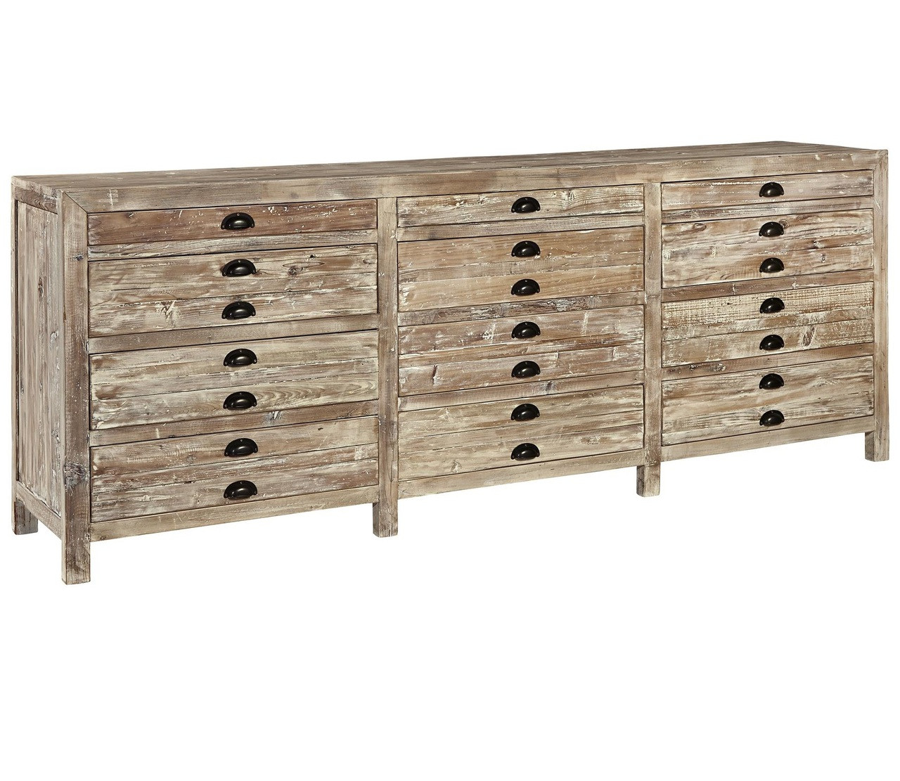 Charmant Apothecary Reclaimed Wood 12 Drawer Storage Chest