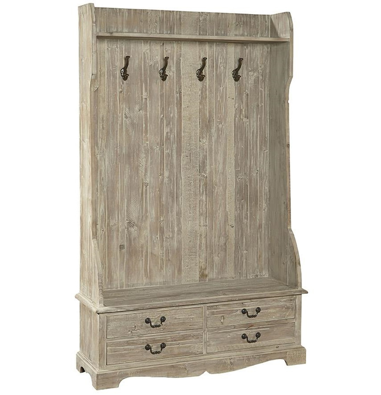 French Country Rustic Entry Storage Bench With Coat Rack Zin Home
