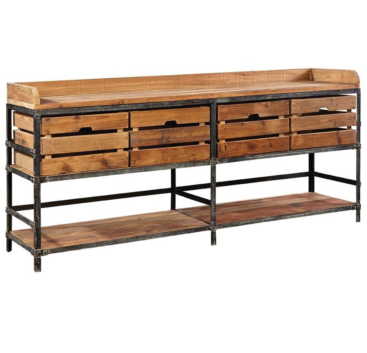 Breeland Industrial Metal Wood Sideboard With Storage Bins Zin Home