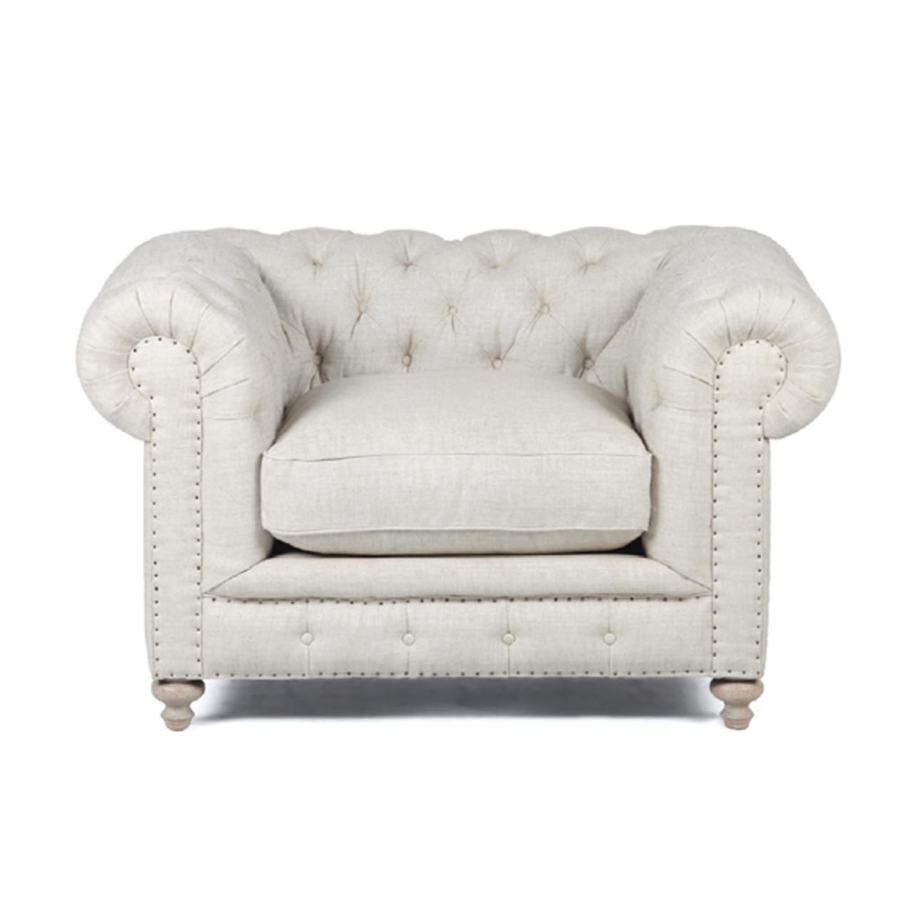 Warner Linen Chesterfield Chair Zin Home