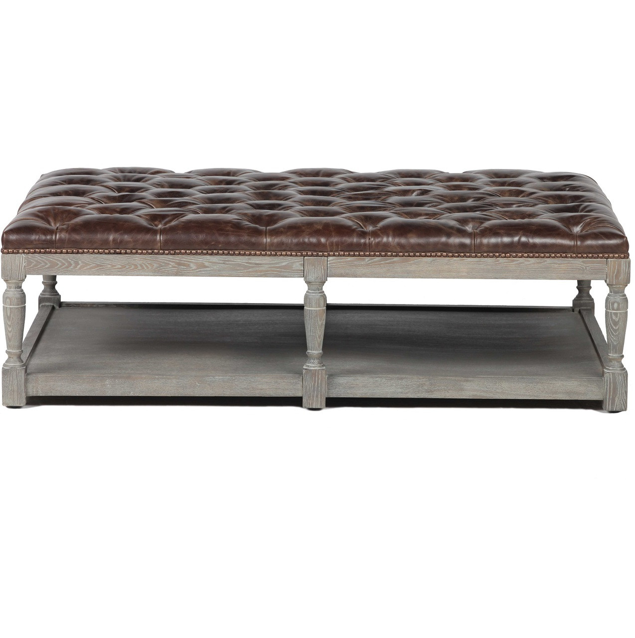 - Mariana Chesterfield Tufted Leather Coffee Ottoman Zin Home