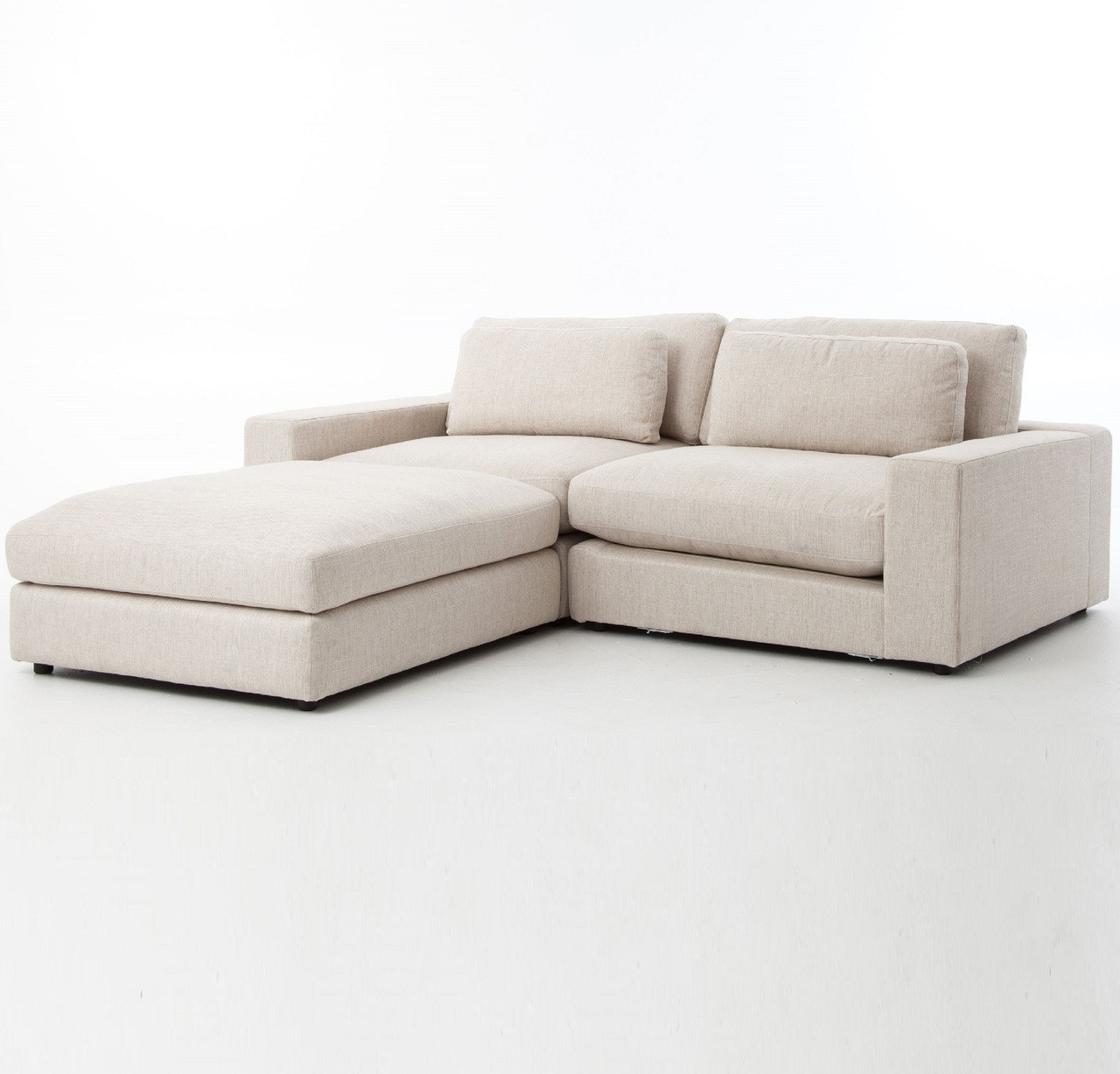 Incroyable Bloor Beige Contemporary 3 Piece Small Sectional Sofa