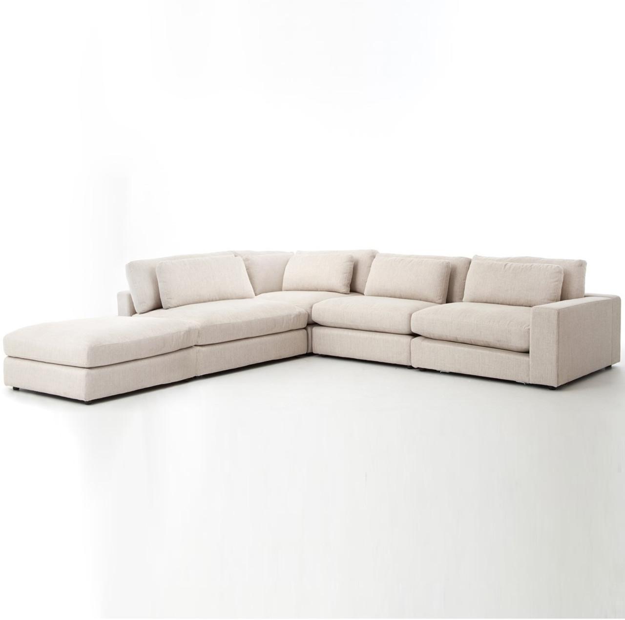Bloor Beige Contemporary 5 Piece Corner Sectional Sofa