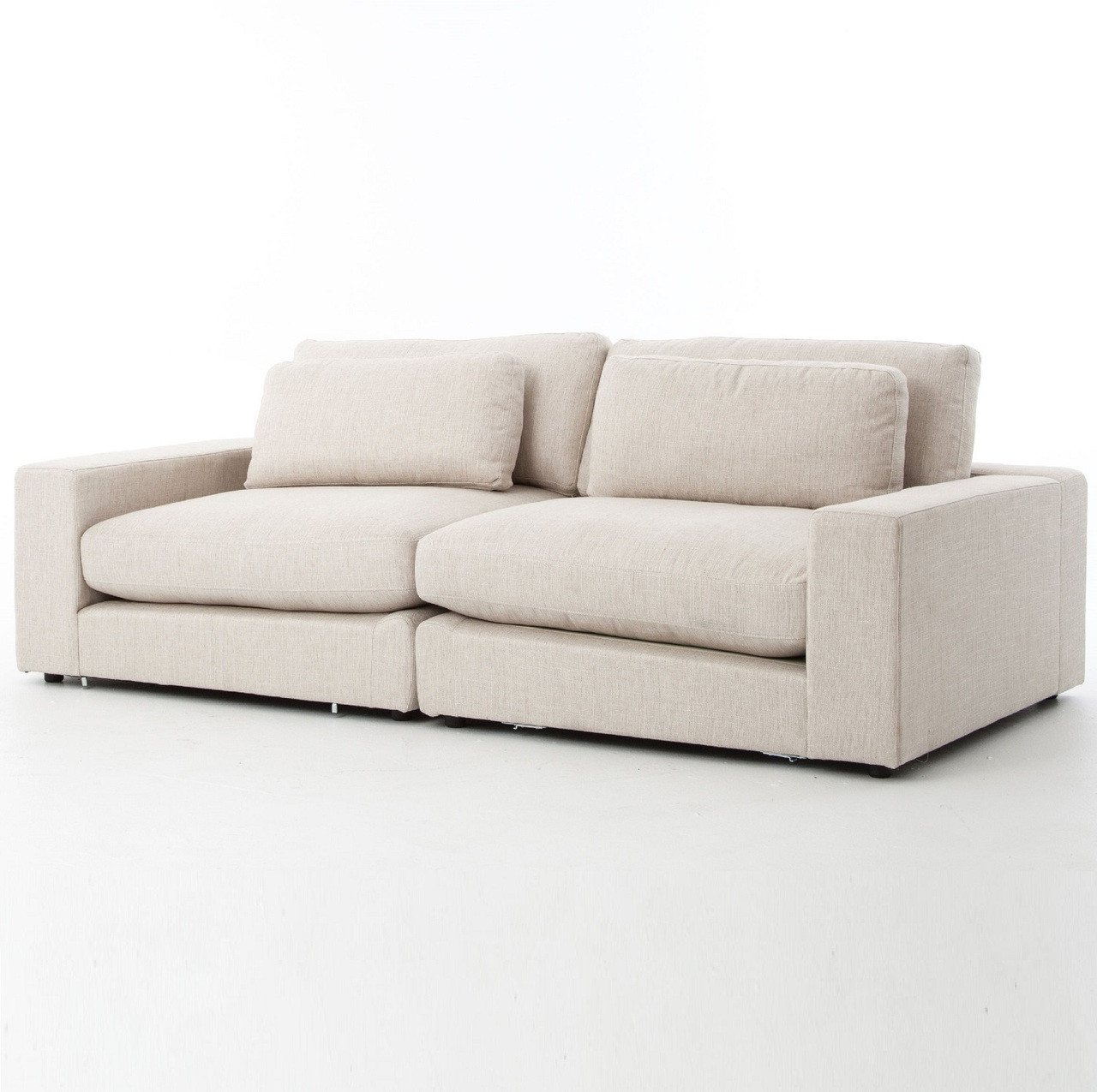 Bloor Beige Upholstered Contemporary 2 Seater Sofa 92\
