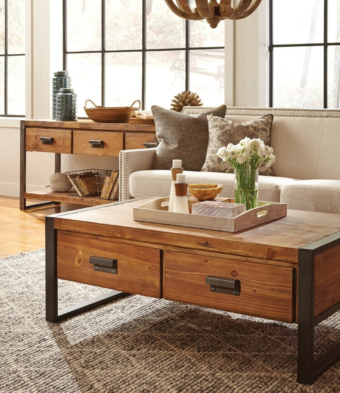 - Rustic Industrial Coffee Table With Drawers Zin Home