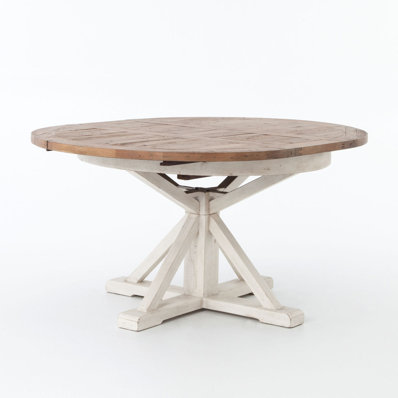 Cintra white expandable round dining table 63