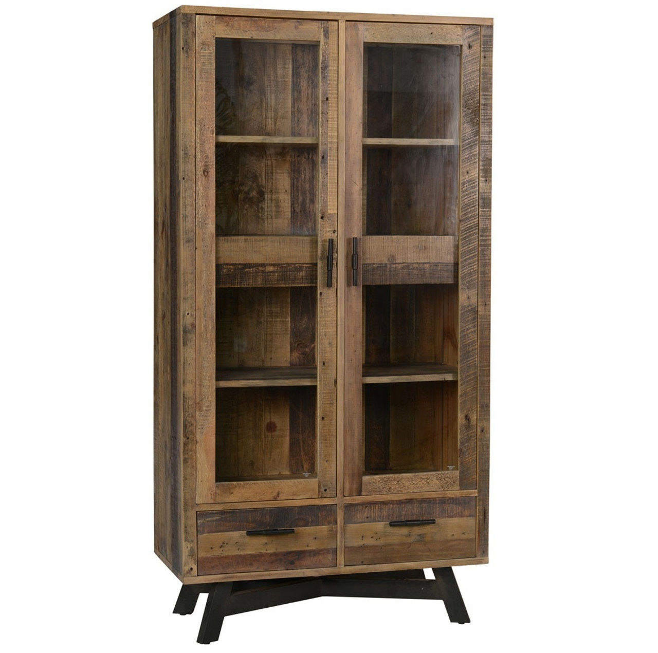 Rustic Farmhouse Style Solid Wood 4 Door Curio Cabinet  Console
