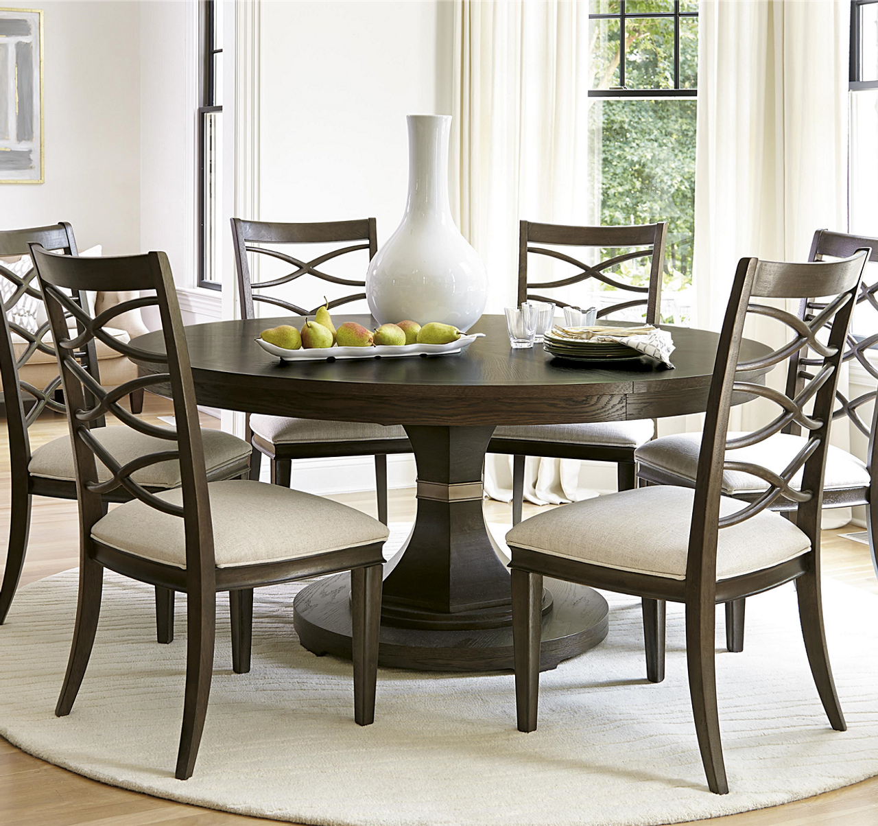 California Rustic Oak Expandable Round Dining Table 64 Zin Home