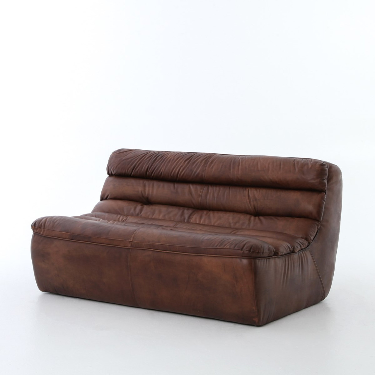 Magna Antique Leather 2 Seater Armless Sofa | Zin Home