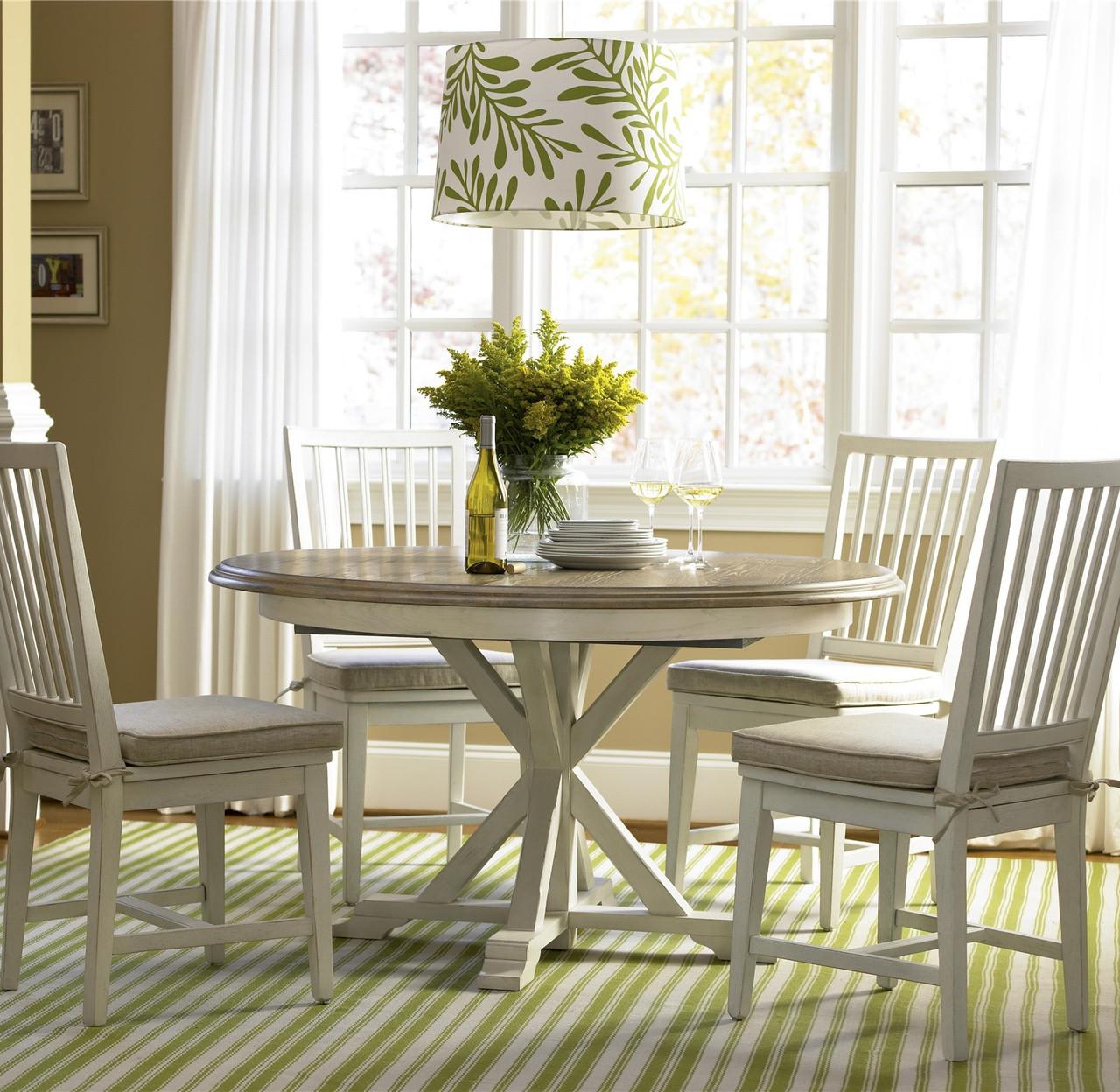coastal beach white oak round dining room set zin home rh zinhome com