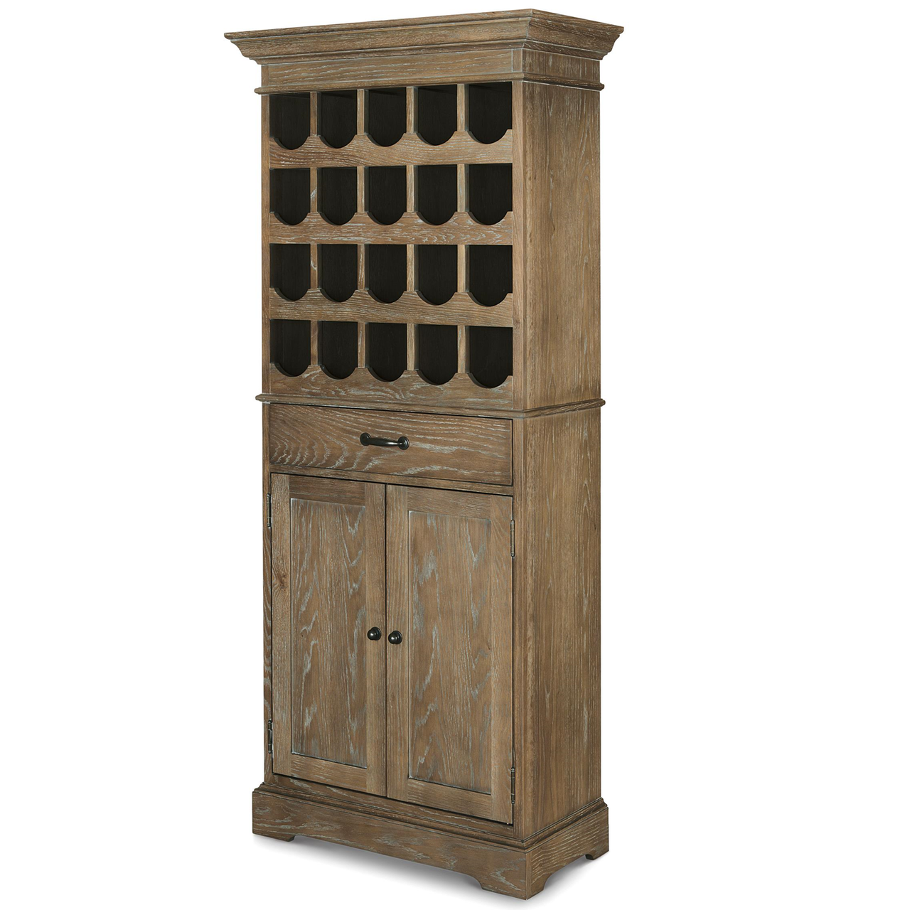 French Oak Tall Wine Bar Cabinet Zin Home