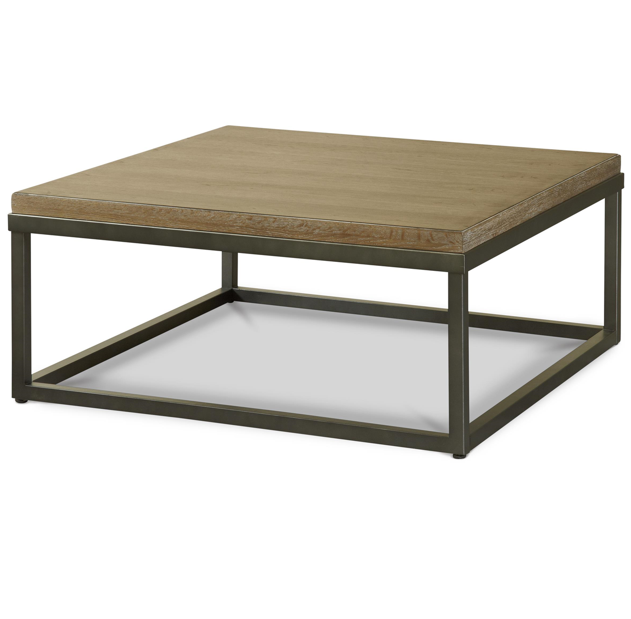 French Industrial Oak Wood Metal Square Cocktail Table Zin Home