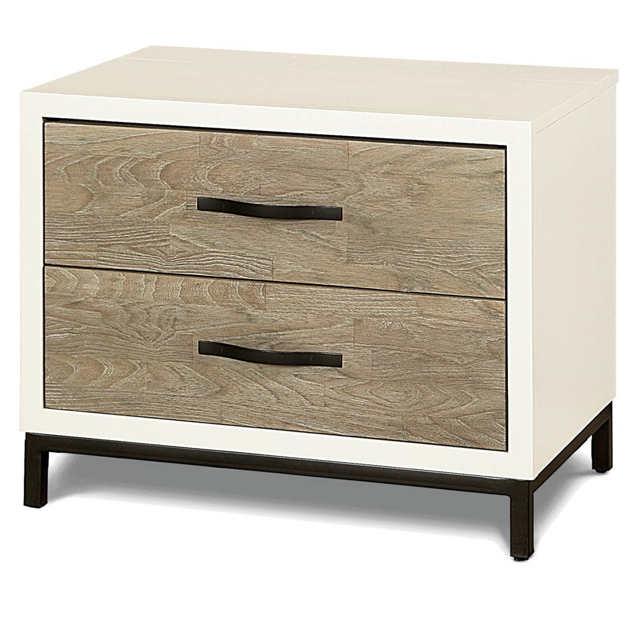 Modern Gray And White 2 Drawers Nightstand