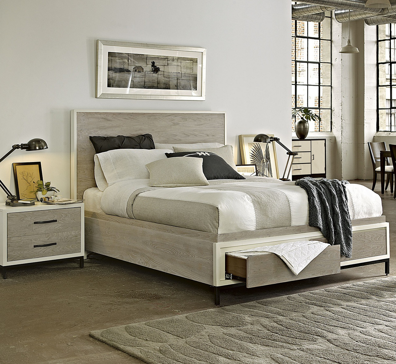 Modern Gray Platform Storage Bedroom Set - Queen