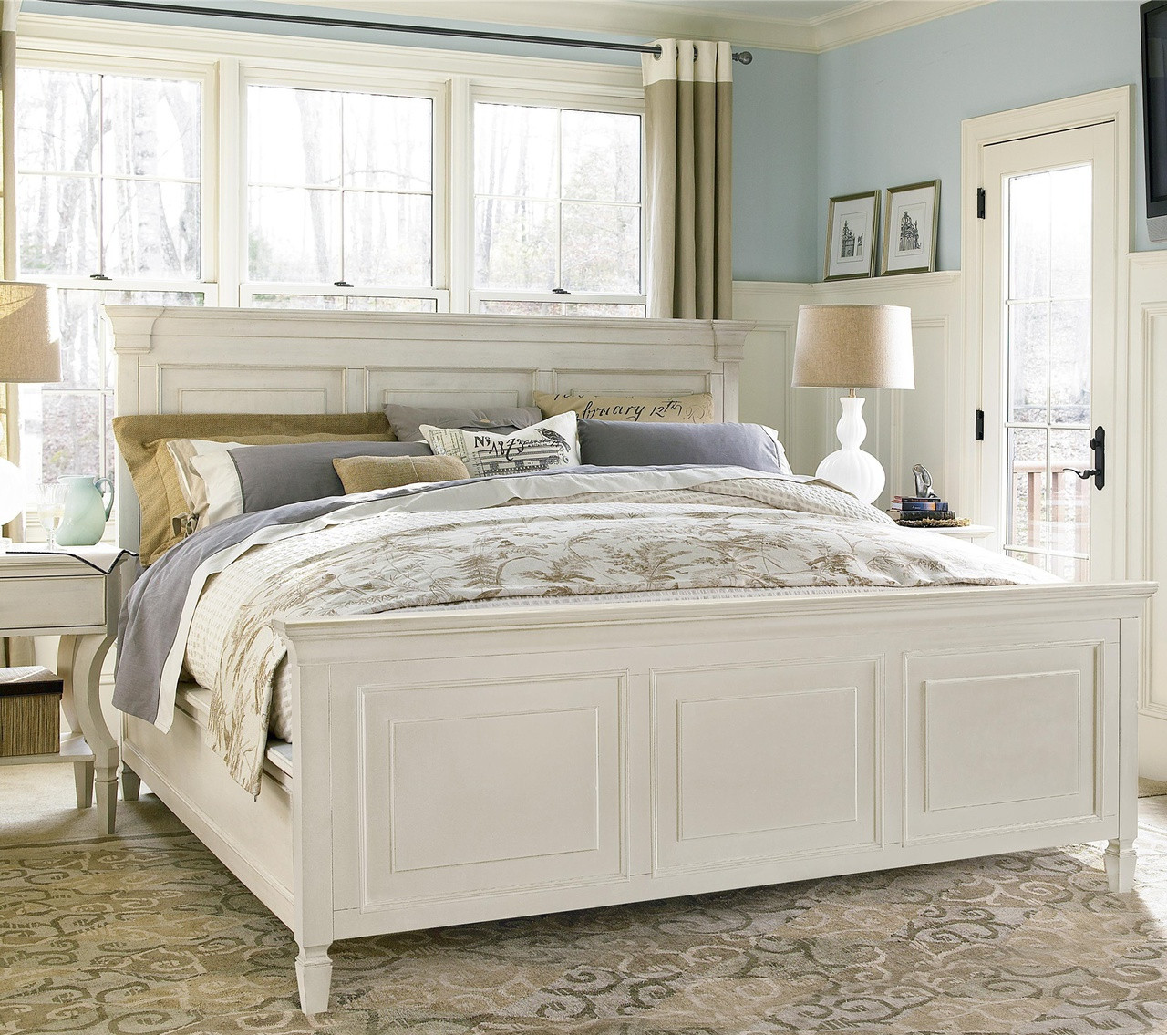 Country Chic White King Panel Bed Frame | Zin Home