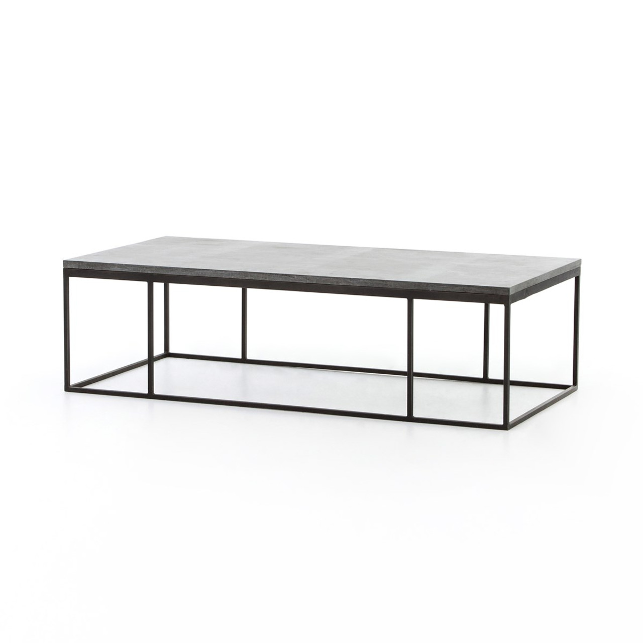 French industrial iron bluestone top coffee table