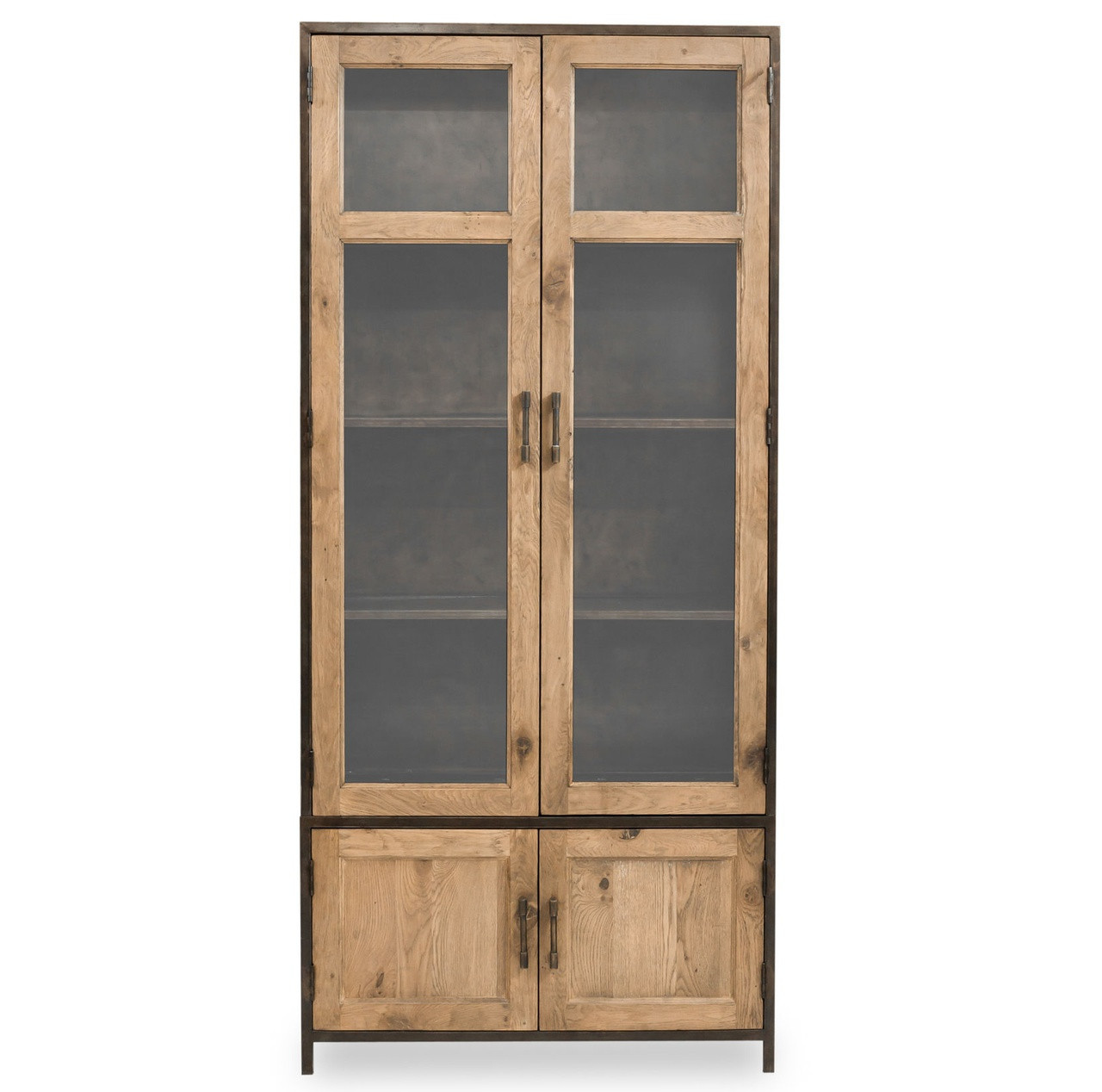 Dominic Industrial Metal + Oak Tall Cabinet with Glass ...