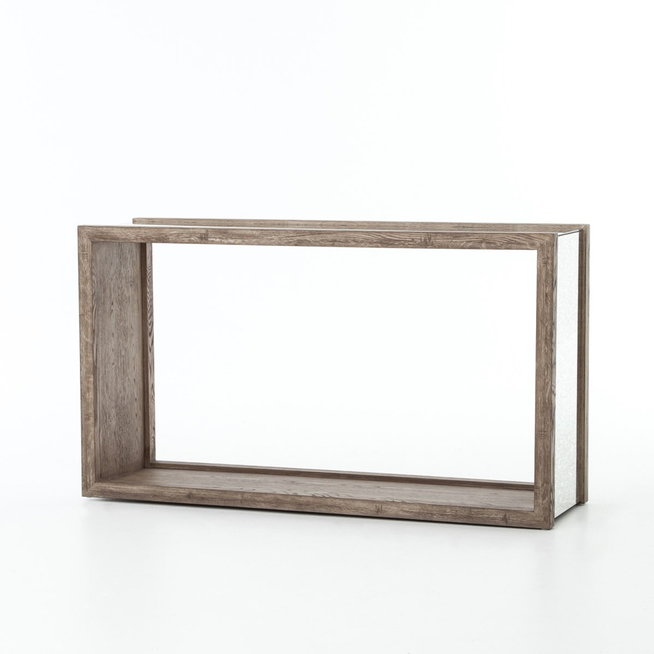 Hollywood regency grey oak antiqued mirror console table
