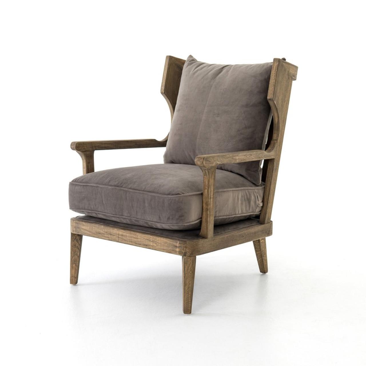 Lennon Exposed Oak Gray Velvet Wingback Chair