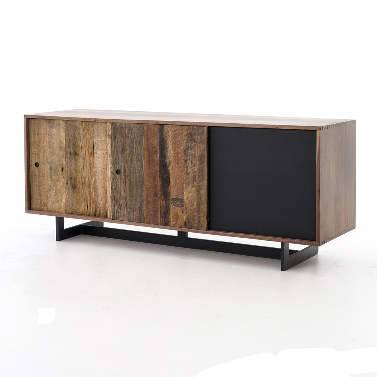Anderson Industrial Rustic Oak Wood and Metal Media Console