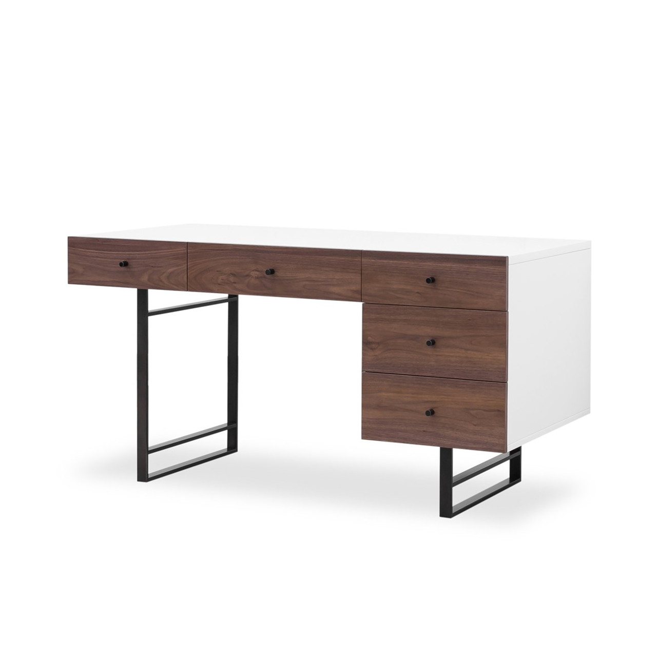 Image of: Mid Century Modern White Lacquer Tucker Desk Walnut Zin Home