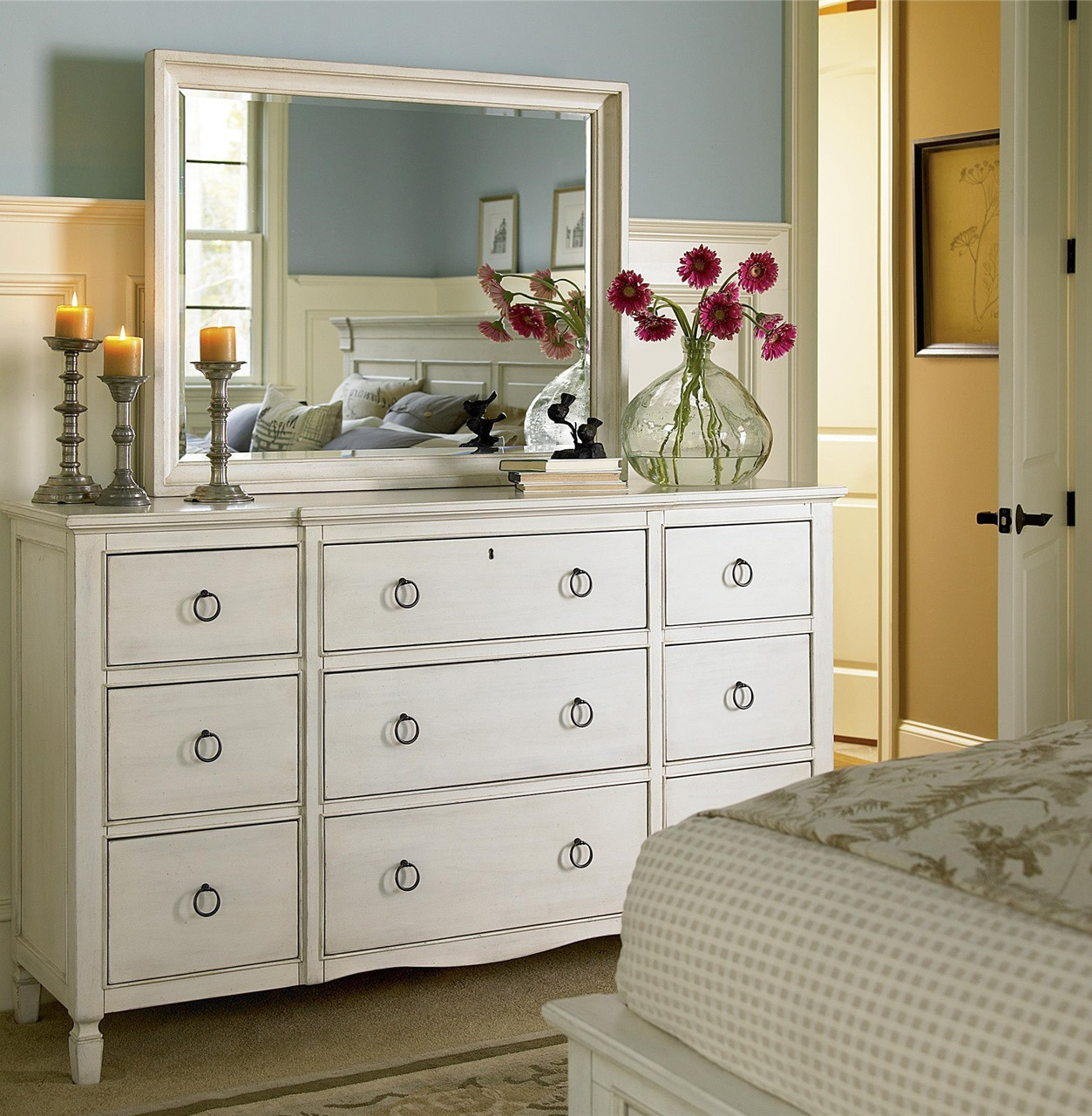 Country Chic Maple Wood 9 Drawer White Dresser With Mirror Zin Home