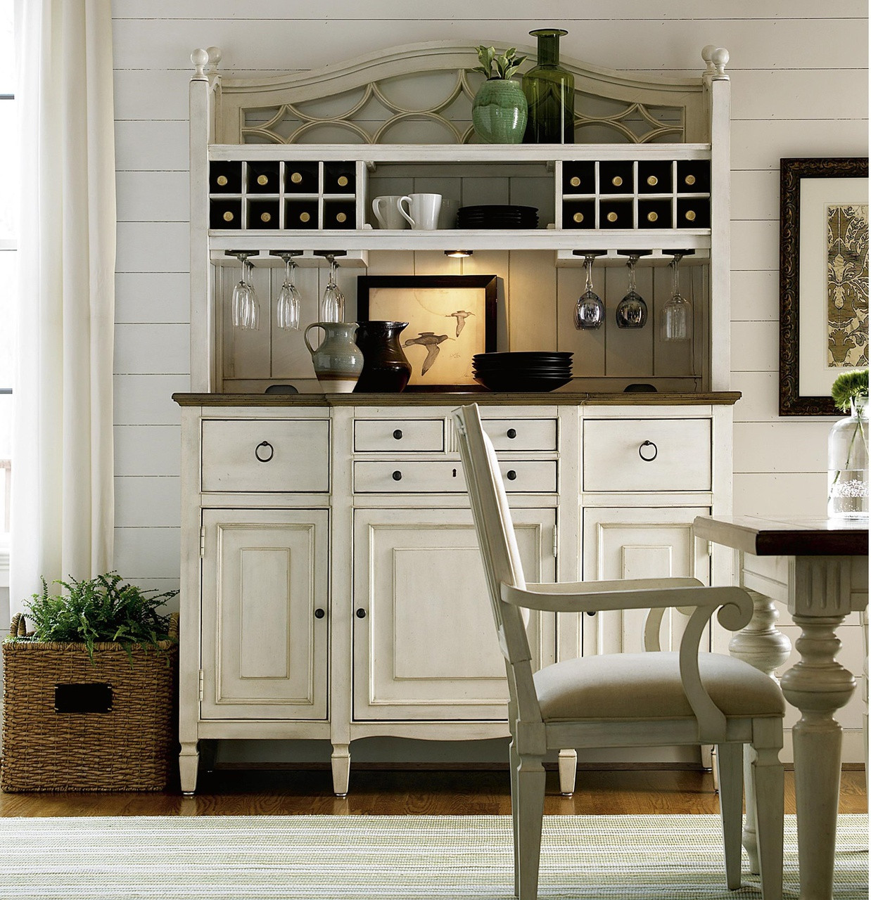 Country Chic Maple Wood White Kitchen Buffet With Bar Hutch