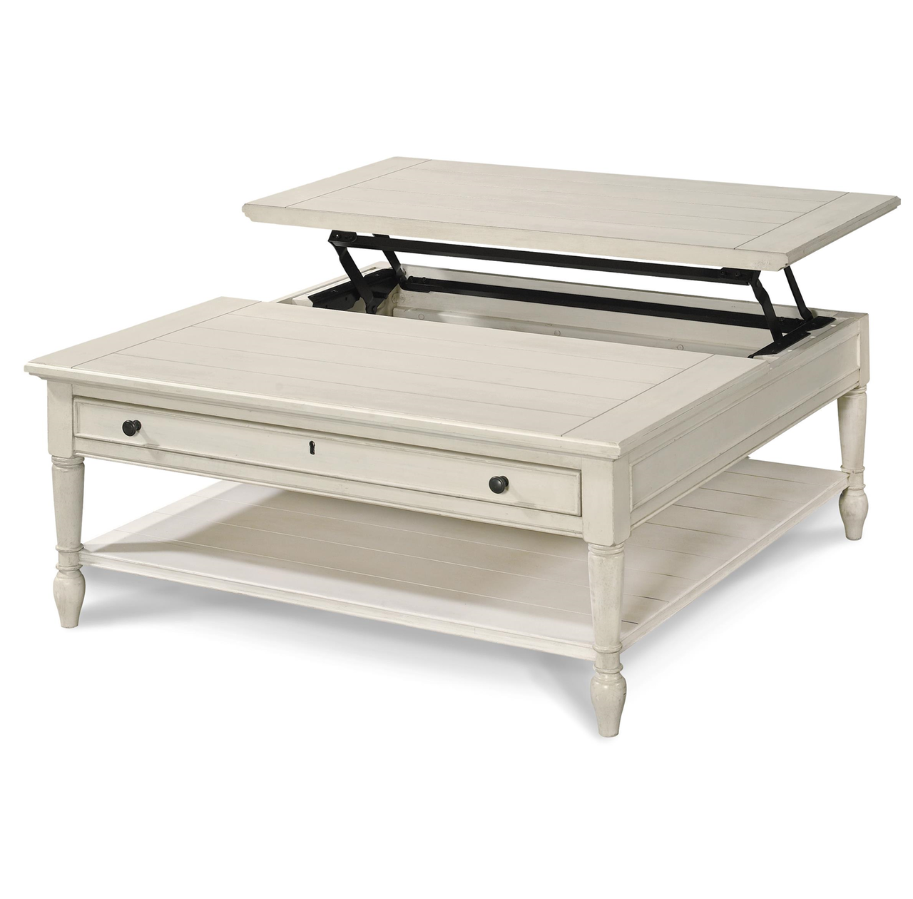 - Country-Chic White Wood Square Coffee Table With Lift Top Zin Home