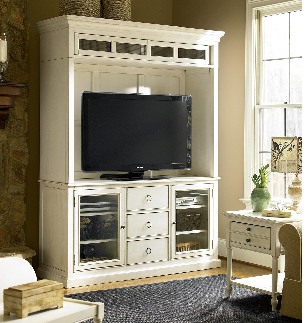 Country Chic Maple Wood White Tv Stand With Hutch Zin Home