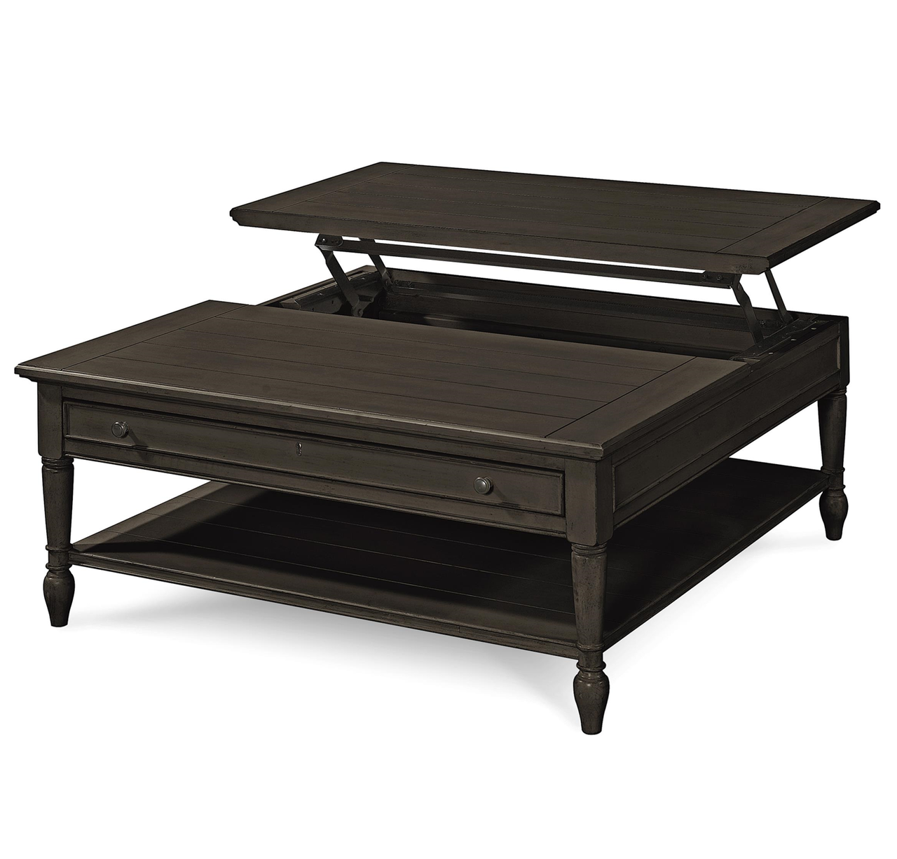 Picture of: Country Chic Black Wood Square Coffee Table With Lift Top Zin Home