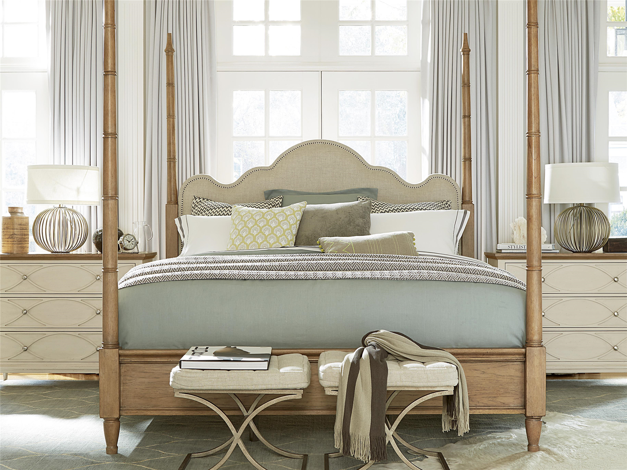 French Modern King Four Poster Bed Frame Zin Home