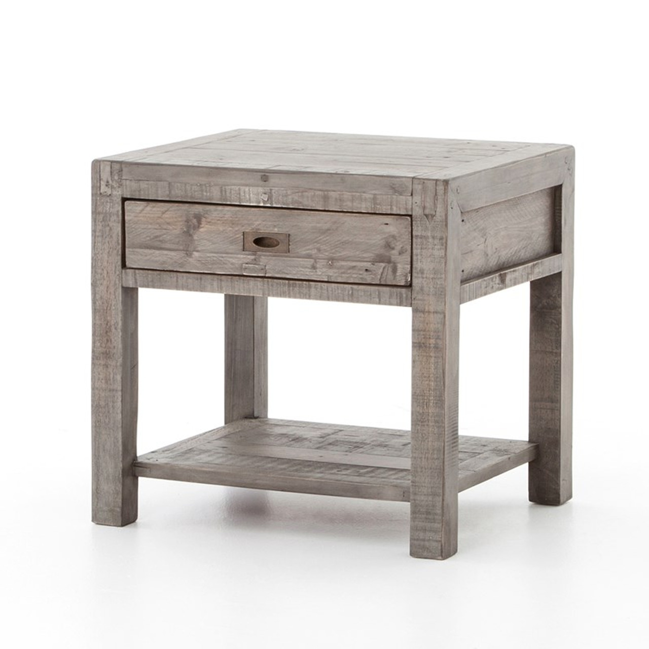 Parsons Reclaimed Wood 1 Drawer End Table Grey