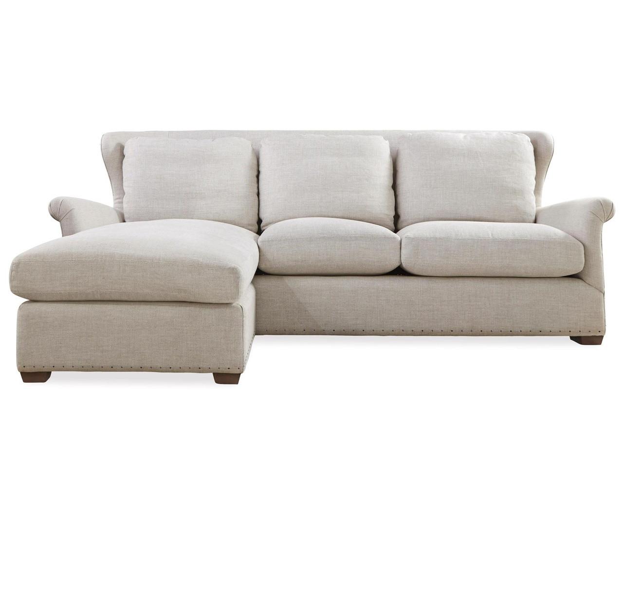 Haven Belgian Linen Upholstered Wingback Sectional Sofa Zin Home