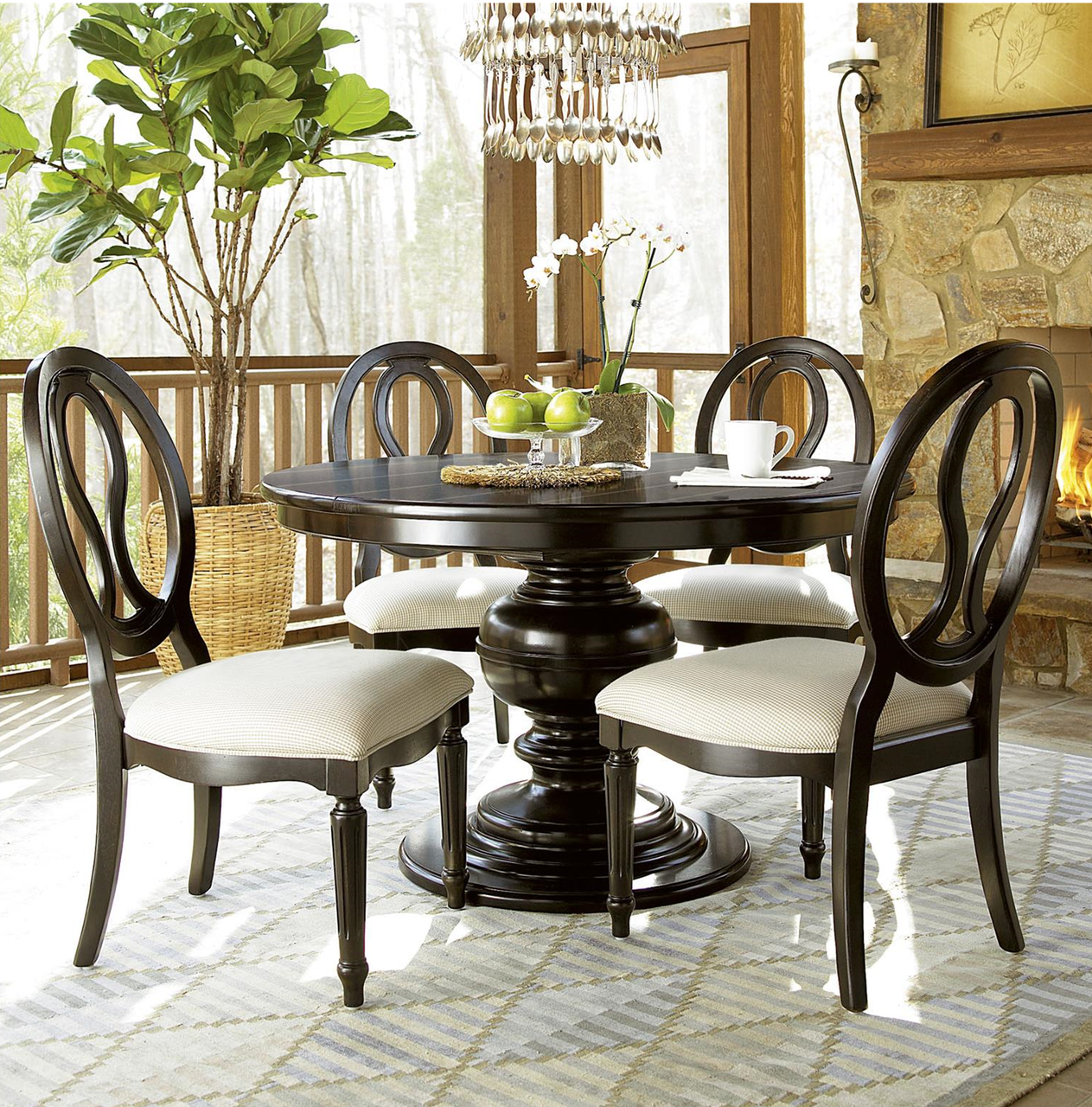 Country-Chic Black 5 Piece Round Dining Room Set