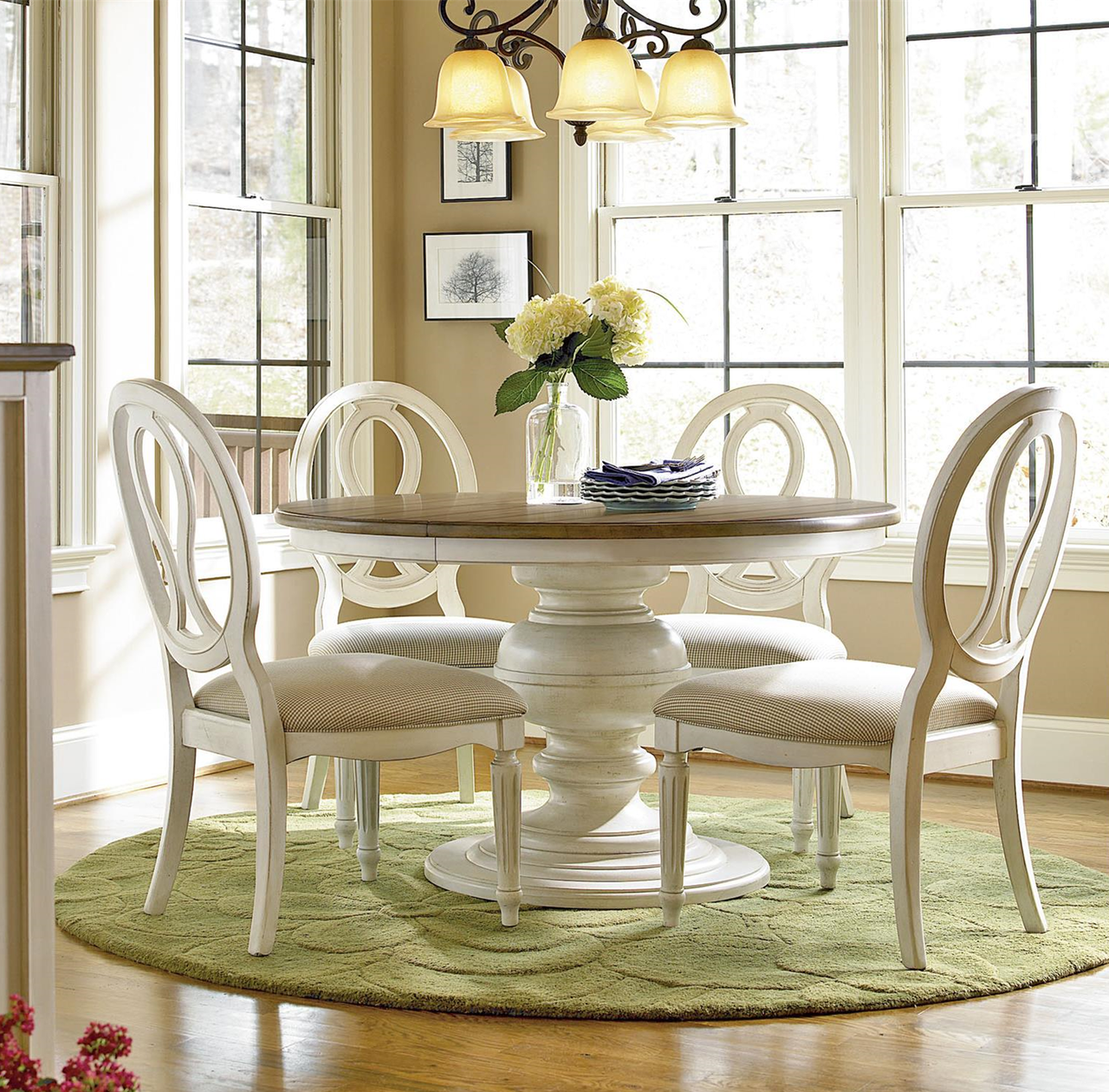 Dining Set Round Table: Country-Chic 5 Piece Round White Dining Table Set