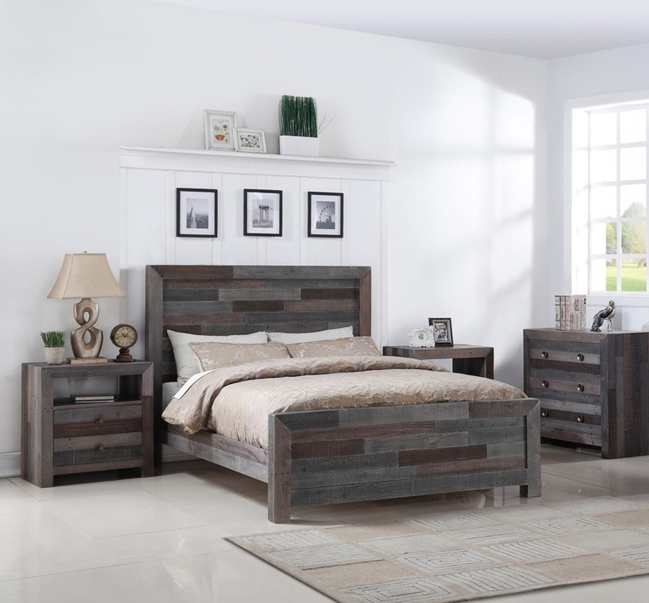 Angora Reclaimed Wood King Size Platform Bed Storm Zin Home
