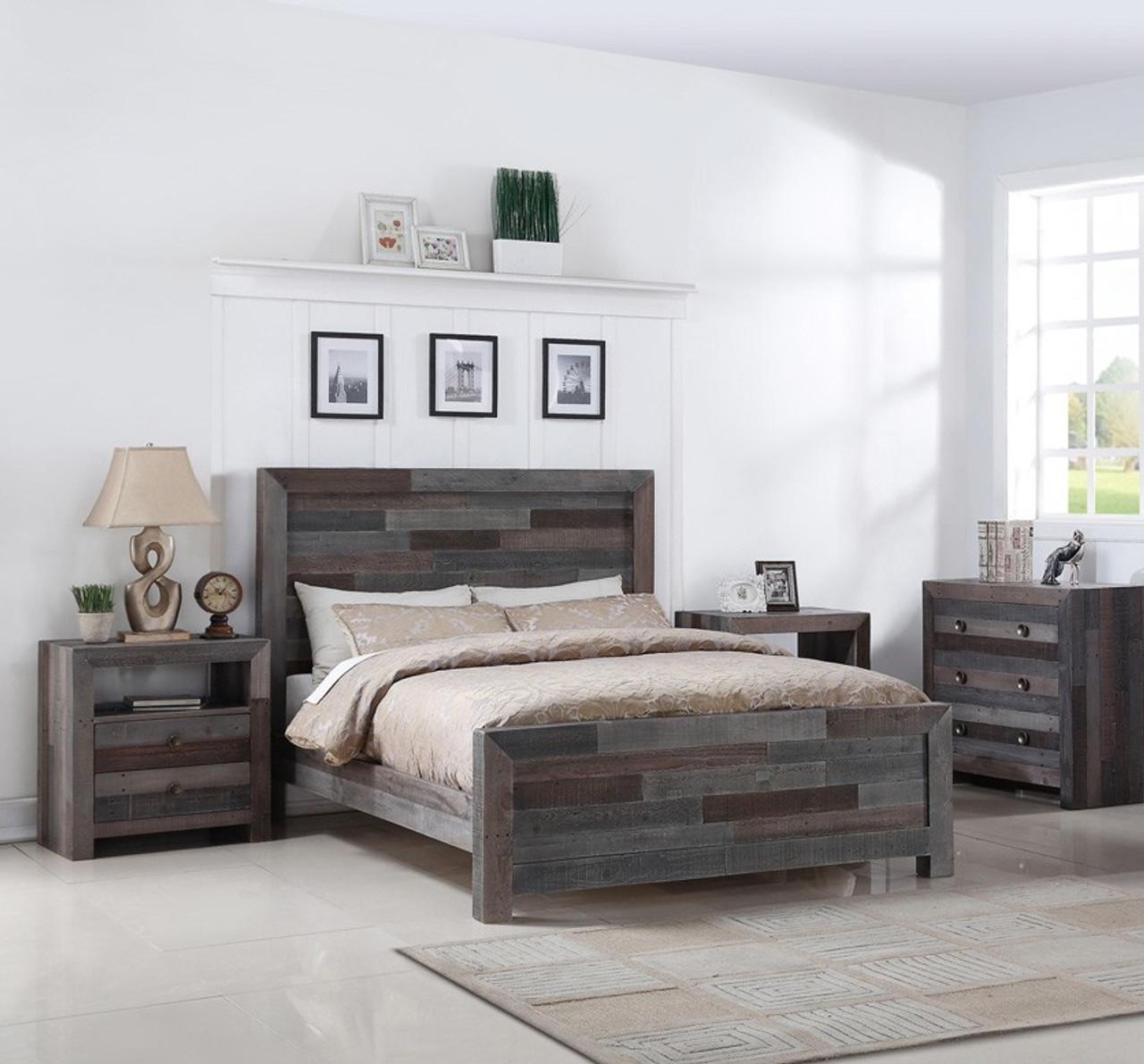 Angora Reclaimed Wood Queen Size Platform Bed Storm Zin Home