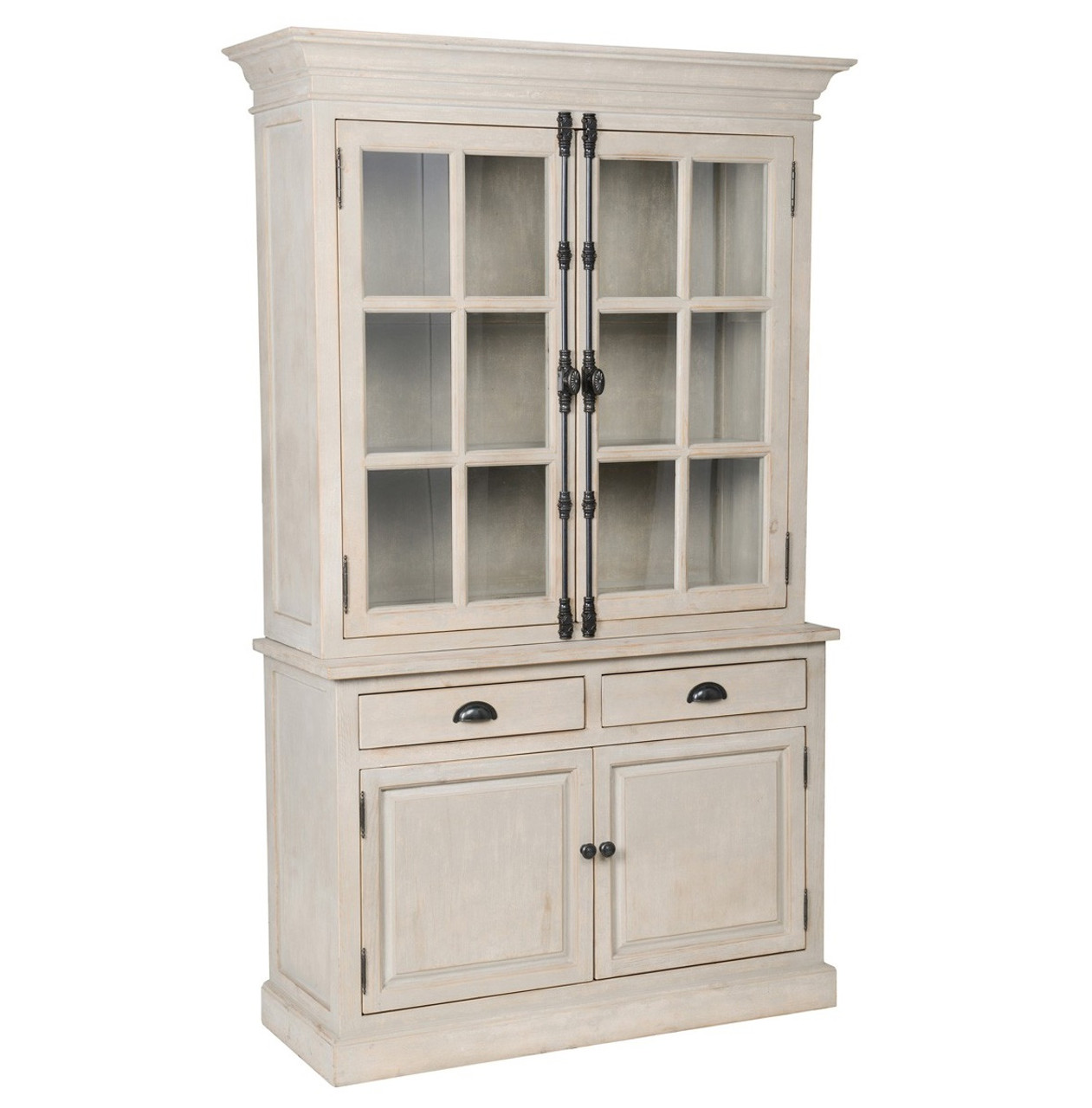 Chateau Solid Wood 2 French Door Hutch Cabinet- Antique White - Chateau Solid Wood 2 French Door Hutch Cabinet- Antique White Zin Home