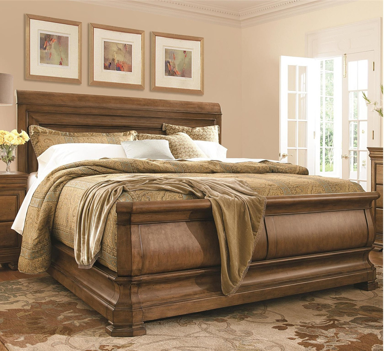 - Louis Philippe Solid Wood King Sleigh Bed - Cognac Zin Home