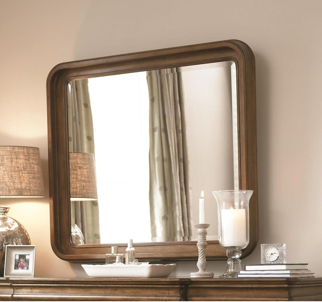 dc7fadef797d8 Louis Philippe Solid Wood Bedroom Landscape Mirror - Cognac