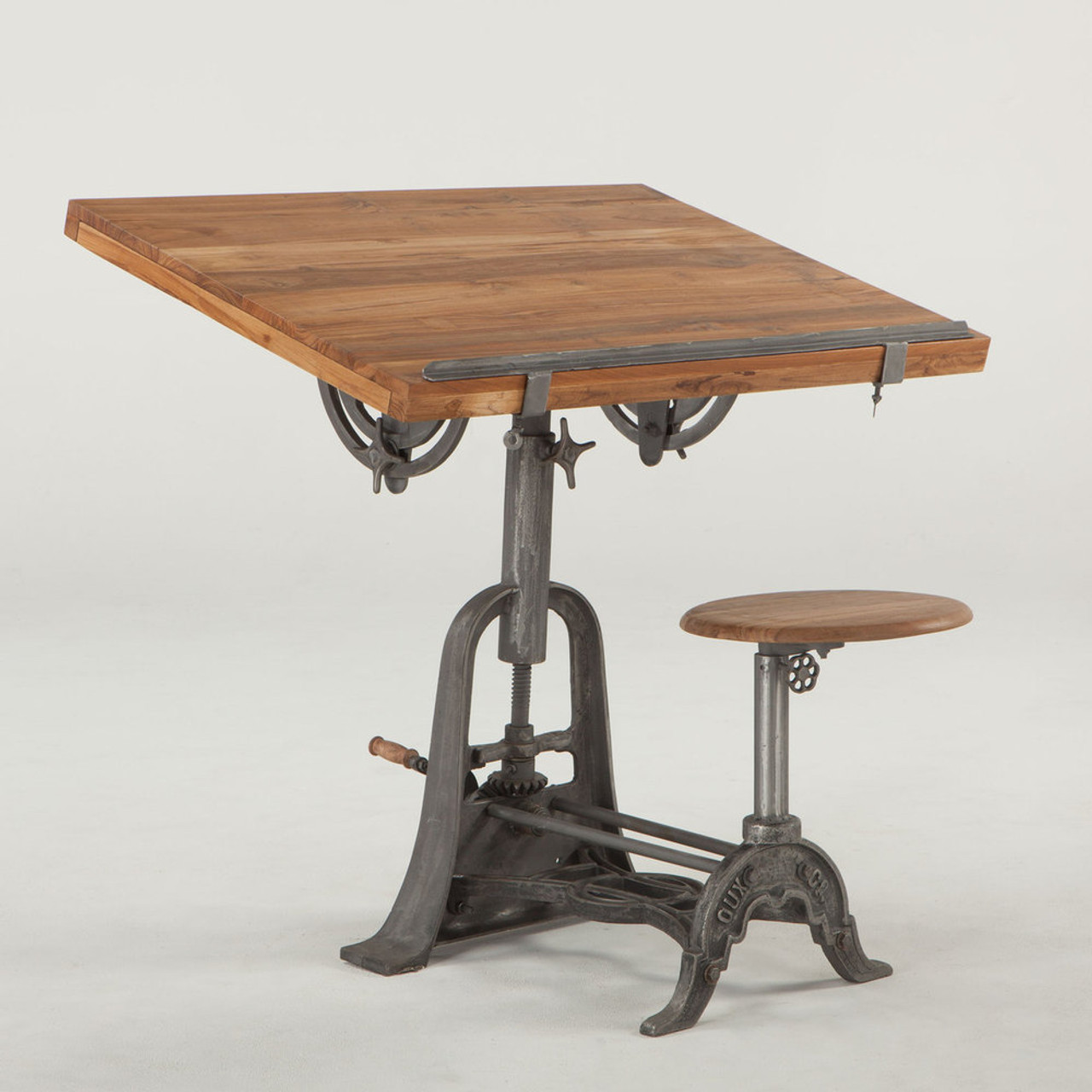 Charmant French Vintage Industrial Architect Drafting Table With Attached Seat | Zin  Home