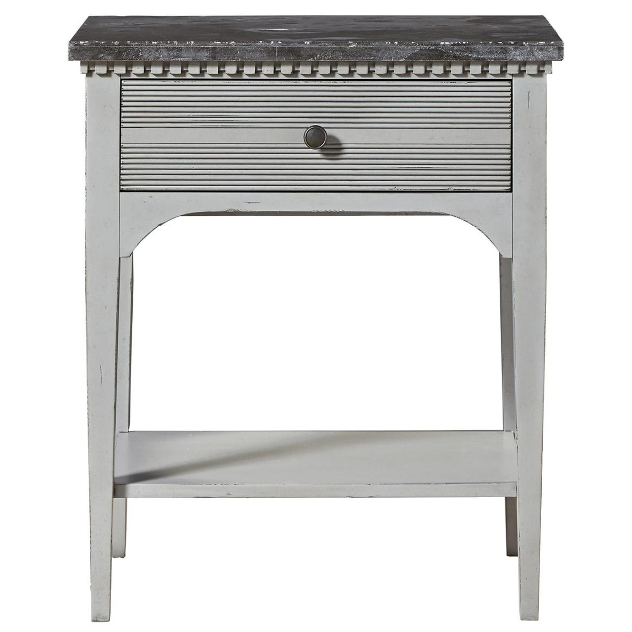 Sojourn french country gray nightstand with bluestone top zin home