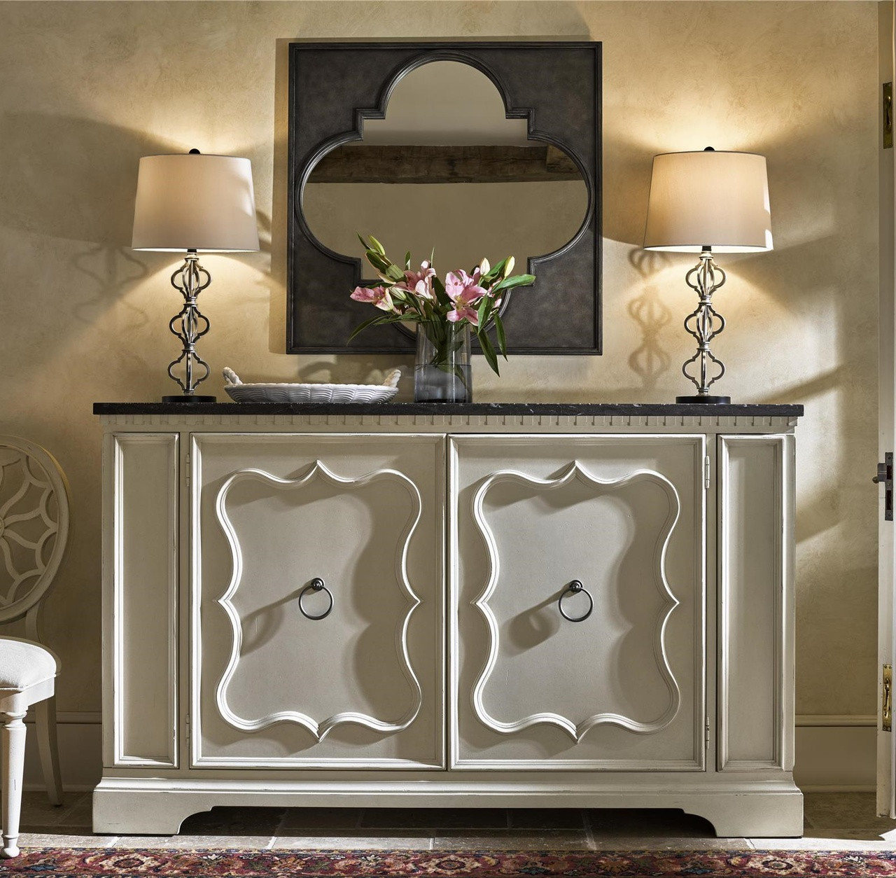 Sojourn French Country White Buffet Credenza With Bluestone Top