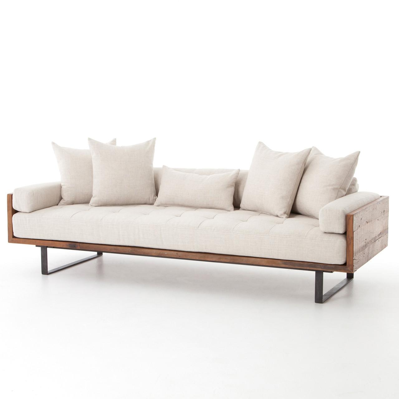 Ranger industrial loft reclaimed wood sofa natural linen