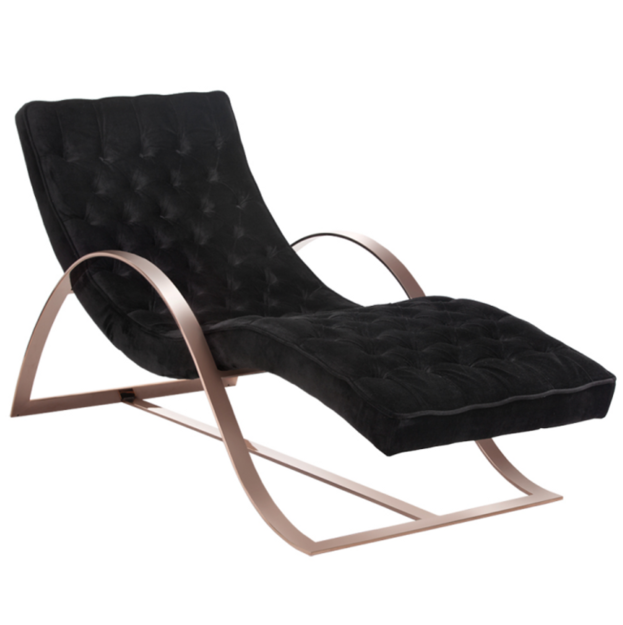 Palais Velvet Chaise Lounge With Rose Gold Legs Zin Home
