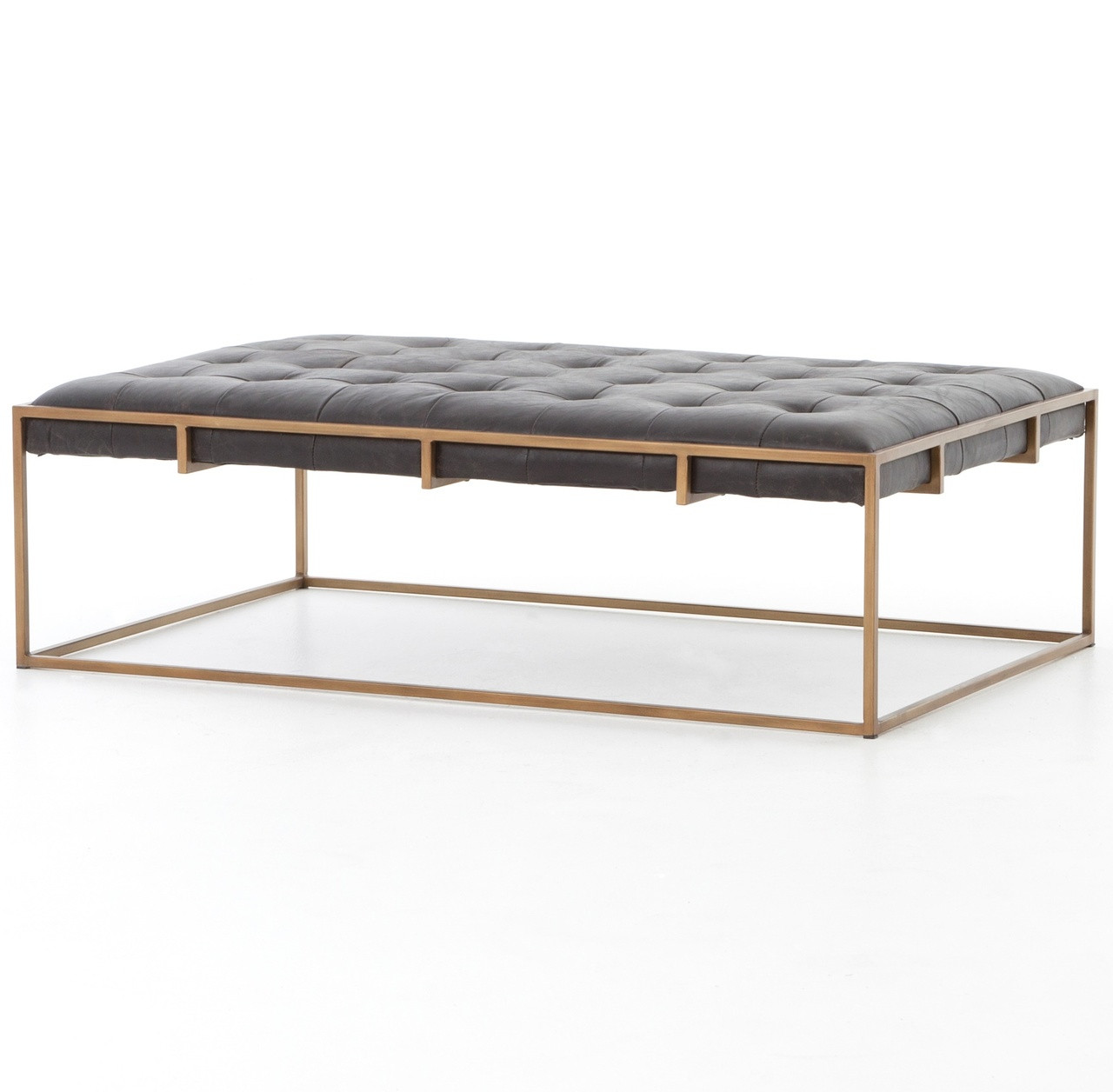 - Oxford Tufted Black Leather Ottoman Coffee Table 50