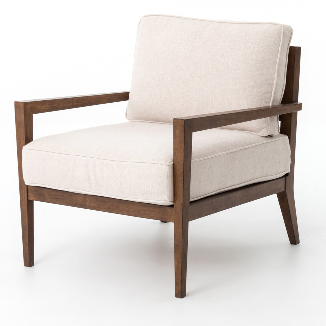 Laurent wood frame beige linen accent chair zin home