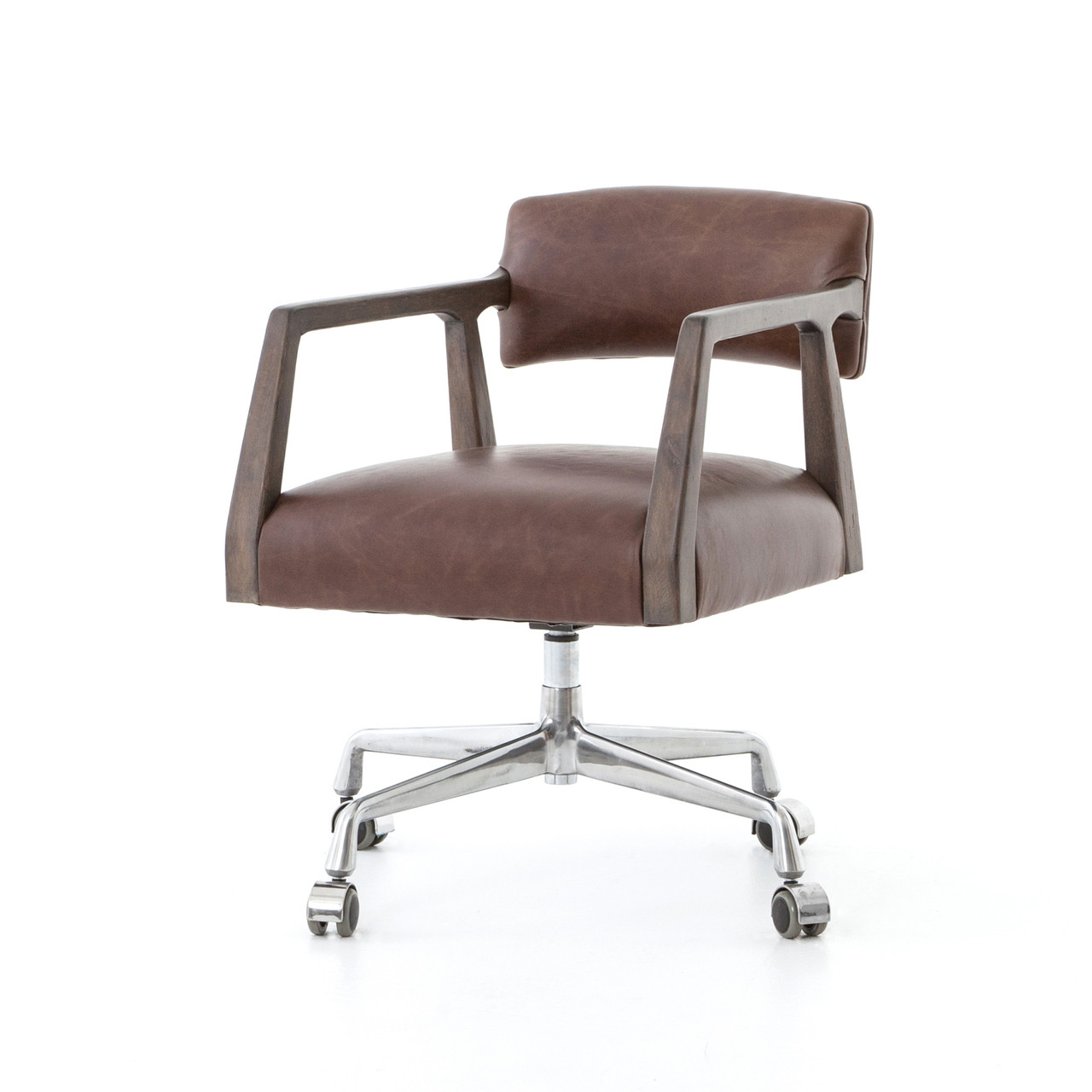 Cool Tyler Mid Century Modern Brown Leather Office Desk Chair Pabps2019 Chair Design Images Pabps2019Com