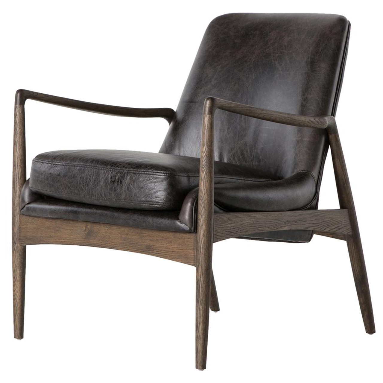 Picture of: Braden Mid Century Modern Black Leather Club Chair Zin Home