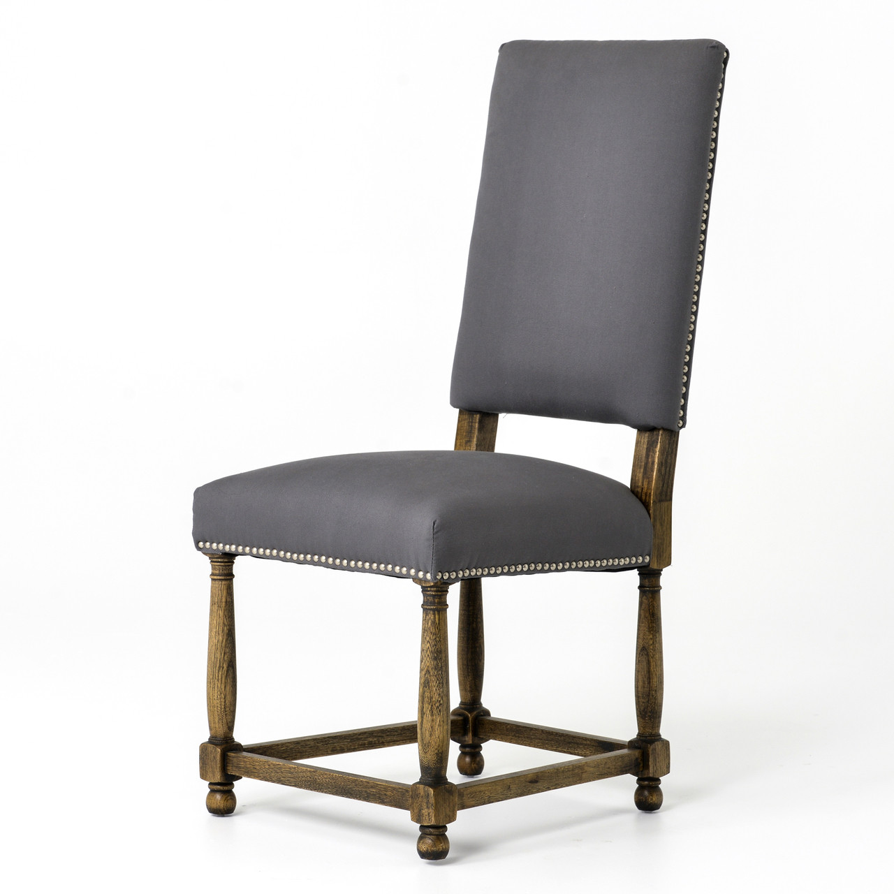 Spanish grey cotton upholstered high back dining chair zin home